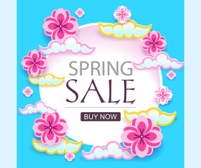 Cut paper Spring Sale banner. Vector modern poster for promotion on typography or web, online shops.