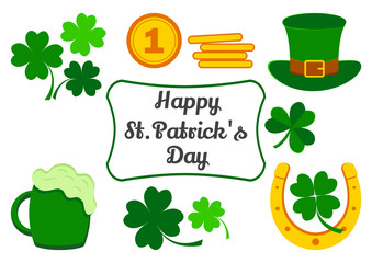 Set for Saint Patrick's Day. Symbols of holiday. Clover, coins, hat, horseshoe, beer. Vector illustration