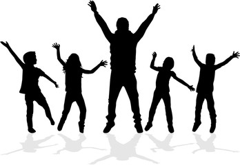 Dancing silhouettes of children.