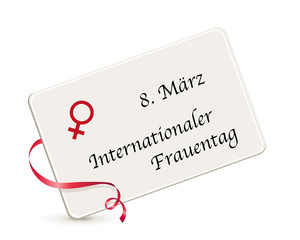 Internationaler Frauentag, Karte zum Weltfrauentag, Karte mit Venus Symbol mit Datum, Vektor Illustration isoliert auf weißem Hintergrund