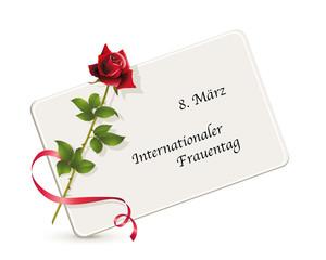 Internationaler Frauentag, Karte zum Weltfrauentag, Karte mit Rose als Erinnerung, Vektor Illustration isoliert auf weißem Hintergrund
