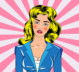 Cartoon girl character in vintage book style. Vector illustration.