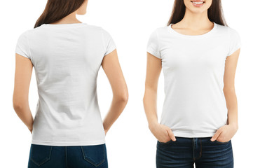 Front and back views of young woman in stylish t-shirt on white background. Mockup for design