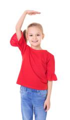 Little girl measuring height on white background