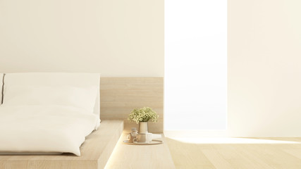Bedroom and living area in hotel or apartment on sunshine day - bedroom japanese style simple design - 3D Rendering