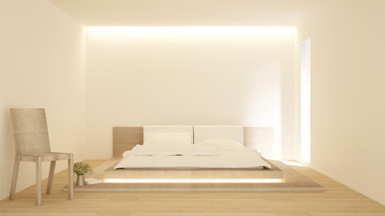 Bedroom and living area in hotel or home on sunshine day - bedroom japanese style simple design - 3D Rendering