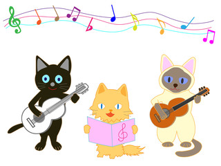 猫のコンサート。猫が楽器を演奏している。