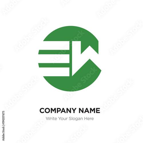 Abstract Letter Ew We Logo Design Template Green Alphabet Initial