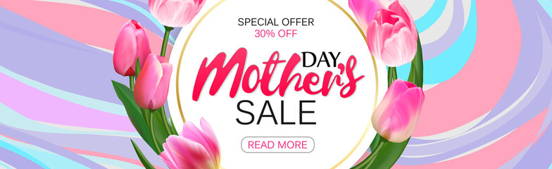 Template design sale banner for happy mother's day. Horizontal poster for special mother's day sale with marble beckground and flower decoration. Vector.