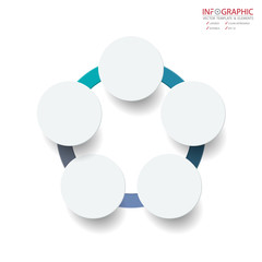 Vector abstract element infographics 5 option. Design for business or finance template layout, brochure, workflow, information or presentation and other. Can add infodata and icon. Abstract 3D vector.