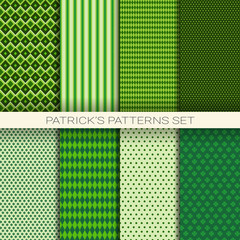 St. Patrick's Day Seamless Pattern Set Of Green Background With Shamrock Or Clover Leaves Vector Illustration