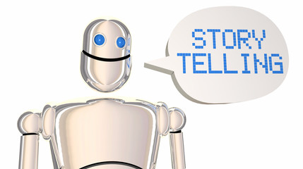 Storytelling Robot Speech Bubble Tell Stories 3d Illustration