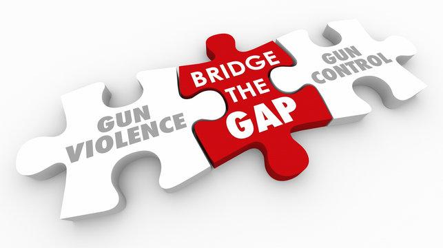 Bridge the Gap Between Gun Violence and Control 3d Illustration