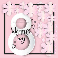 Happy Women Day Background Paper Flowers On Pink Background Greeting Card Holiday Design Vector Illustration