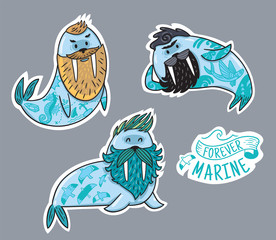 Animals patch collection of hipster walruses with beards and tattoos in cartoon style. Vector fun stickers