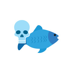 Skull Fish Logo Icon Design