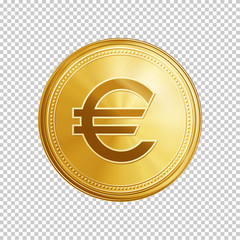 Gold euro coin. Circle coin with euro symbol isolated on transparent background. Means of payment, global currency, world economics, finances and investment concept. Realistic vector illustration.