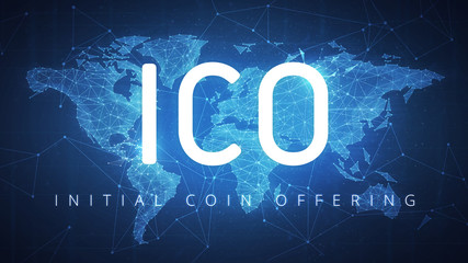 ICO initial coin offering futuristic hud background with world map and blockchain polygon peer to peer network. Global cryptocurrency ICO coin sale event - blockchain business banner concept.