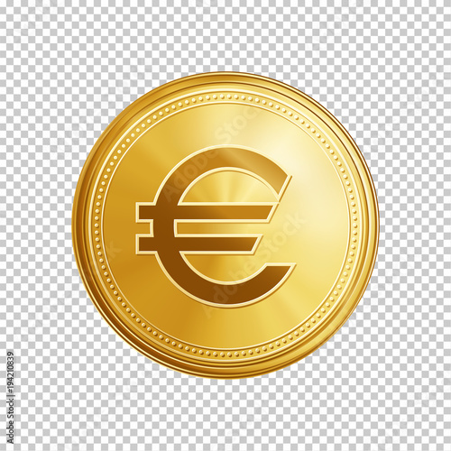 Gold Euro Coin Circle Coin With Euro Symbol Isolated On Transparent