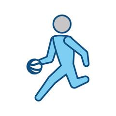 Basketball player with ball pictogram
