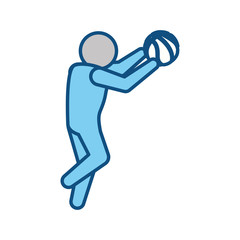 Basketball player with ball pictogram