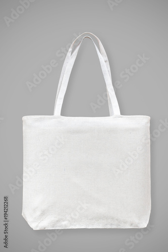 Tote Bag Canvas White Cotton Fabric Cloth Eco Ping Sack Mockup Blank Template Isolated On Grey Background Clipping Path