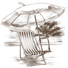 beach sunbeds and sun umbrella on sandy beach background and palm trees sketch vector graphics monochrome drawing