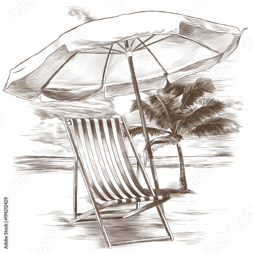 Beach Sunbeds And Sun Umbrella On Sandy Background Palm Trees Sketch Vector Graphics Monochrome