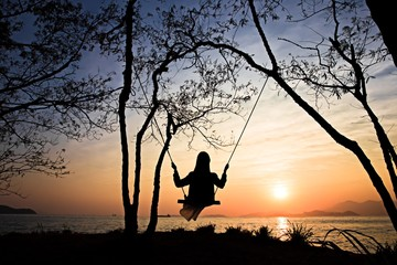 Swing with sunset