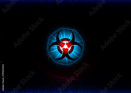 Abstract Biohazard Symbol With Blue Light Effect Background