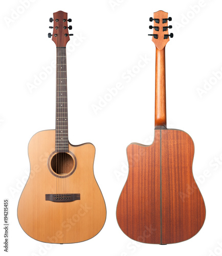 Acoustic Guitar Isolated On White Background Stock Photo And
