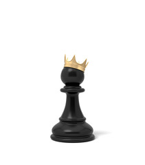 3d rendering of a black chess pawn piece with a golden crown sitting on top of it.