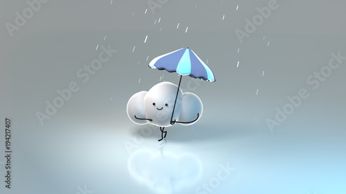 24da2d45bfded Cute rainy clouds with umbrella. 3d rendering picture.