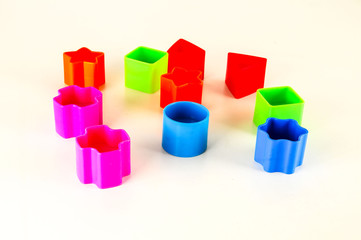 Close-up of colored geometreic plastic toy