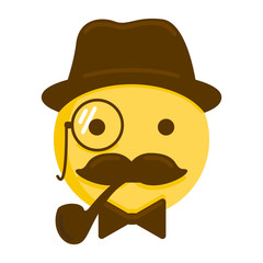 Gentleman emoticon. Vector smiley icon with mustache, hat, smoking pipe, monocle and a bow tie