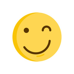 Wink Emoticon. Emoji smiley vector icon