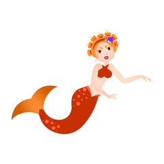 Mermaid cartoon character. Fantasy creature