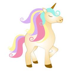 Majestic cute unicorn cartoon character. Fantasy