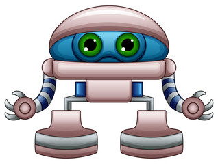Cute robot cartoon with green eyes isolated on white background