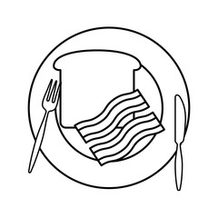 plate with bacon vector illustration