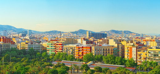 Fototapete - Panorama on the urban center of Barcelona, the capital of the Au