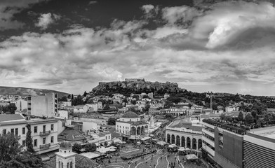 Monastiraki Square  Panorama with of Acropolis Parthenon view, Athens - Greece, in Black and White