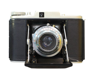 vintage photographic camera isolated with clipping path.