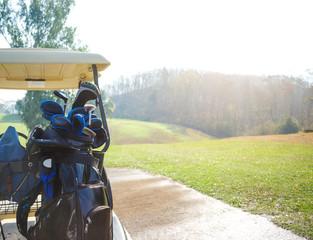 Golf car on the golf course