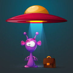 Funny, cute alien with big eye and ear. Vector eps 10