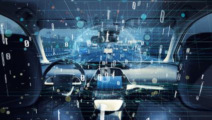 Interior of autonomous car. Car digitalization concept.