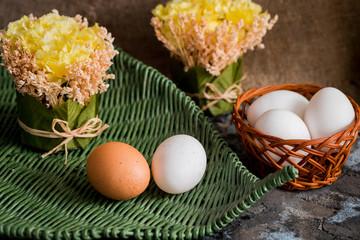 Easter egg in wicker basket