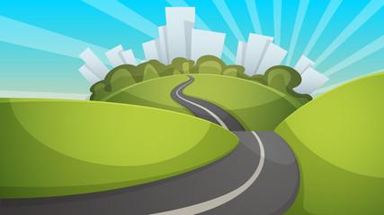 Cartoon summer landscape. City, hill, road illustration Vector eps 10