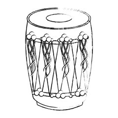 musical instrument punjabi drum dhol indian traditional vector illustration   sketch style design
