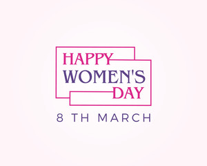 Happy Women's Day vector Card to 8 March in pink color typography. beautiful woman with heart shape illustration.